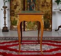 French Louis VI Manner Writing Desk Walnut Gilt Leather Table (9 of 12)