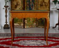French Louis VI Manner Writing Desk Walnut Gilt Leather Table (10 of 12)