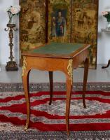 French Louis VI Manner Writing Desk Walnut Gilt Leather Table (12 of 12)