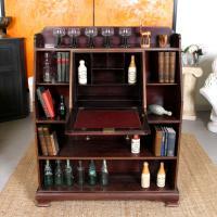 Antique Bureau Bookcase Haberdashery Mahogany Writing Cabinet Bookshelves