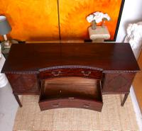 Concave Cuban Mahogany Credenza Sideboard Chippendale (11 of 14)