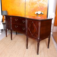 Concave Cuban Mahogany Credenza Sideboard Chippendale