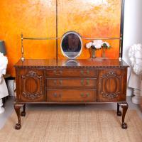 Sideboard Mahogany Mirror 19th Century Arts Crafts Credenza