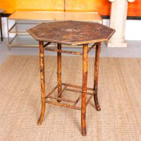 Antique Bamboo Table 19th Century Lacquered Lamp Side Plant Table Japanese