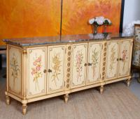 Italian Marble Hand Painted Credenza Sideboard Maple & Co