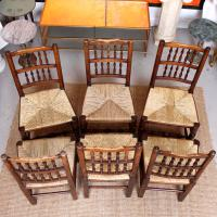 6 Georgian Dining Chairs Country Ash Rushwork (4 of 13)