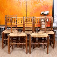 8 Georgian Dining Chairs Country Ash Rushwork (2 of 12)
