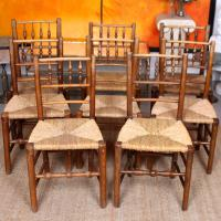 8 Georgian Dining Chairs Country Ash Rushwork (3 of 12)