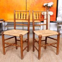 8 Georgian Dining Chairs Country Ash Rushwork (6 of 12)