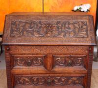 Carved Oak Bureau Green Man c.1890 (6 of 12)