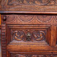 Carved Oak Bureau Green Man c.1890 (7 of 12)