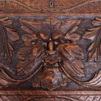 Carved Oak Bureau Green Man c.1890 (9 of 12)
