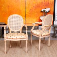 Pair of Continental Bergere Carved Limed Elbow Tub Chairs (2 of 11)