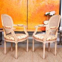 Pair of Continental Bergere Carved Limed Elbow Tub Chairs (3 of 11)