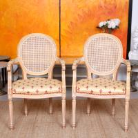 Pair of Continental Bergere Carved Limed Elbow Tub Chairs (4 of 11)