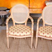 Pair of Continental Bergere Carved Limed Elbow Tub Chairs (5 of 11)