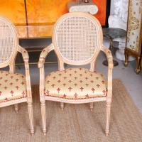 Pair of Continental Bergere Carved Limed Elbow Tub Chairs (6 of 11)