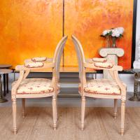 Pair of Continental Bergere Carved Limed Elbow Tub Chairs (9 of 11)