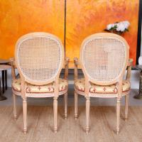 Pair of Continental Bergere Carved Limed Elbow Tub Chairs (10 of 11)