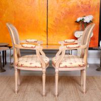 Pair of Continental Bergere Carved Limed Elbow Tub Chairs (11 of 11)
