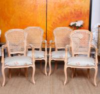 4 Continental Bergere Chairs Armchairs Carved Limed Oak