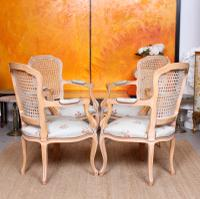 4 Continental Bergere Chairs Armchairs Carved Limed Oak (2 of 12)