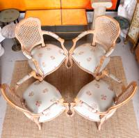 4 Continental Bergere Chairs Armchairs Carved Limed Oak (3 of 12)