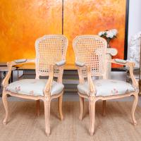 4 Continental Bergere Chairs Armchairs Carved Limed Oak (5 of 12)
