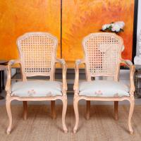 4 Continental Bergere Chairs Armchairs Carved Limed Oak (6 of 12)