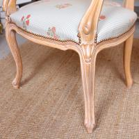 4 Continental Bergere Chairs Armchairs Carved Limed Oak (10 of 12)