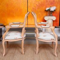 4 Continental Bergere Chairs Armchairs Carved Limed Oak (11 of 12)