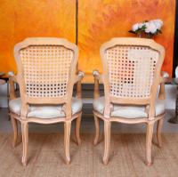4 Continental Bergere Chairs Armchairs Carved Limed Oak (12 of 12)