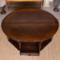 Oak Creedence Table Large Carved Folding Dining Console Table (4 of 12)