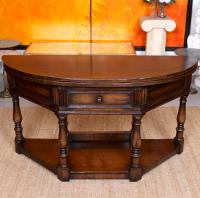 Oak Creedence Table Large Carved Folding Dining Console Table (6 of 12)