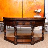 Oak Creedence Table Large Carved Folding Dining Console Table (7 of 12)