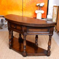 Oak Creedence Table Large Carved Folding Dining Console Table (9 of 12)
