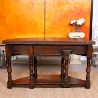 Oak Creedence Table Large Carved Folding Dining Console Table (11 of 12)