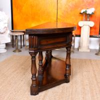 Oak Creedence Table Large Carved Folding Dining Console Table (12 of 12)