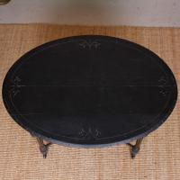Ebonised Dining Table Gilt Tooled Console (2 of 11)
