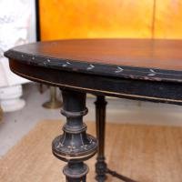 Ebonised Dining Table Gilt Tooled Console (3 of 11)