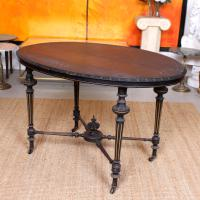 Ebonised Dining Table Gilt Tooled Console (7 of 11)