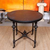 Ebonised Dining Table Gilt Tooled Console (8 of 11)