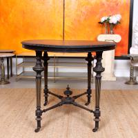 Ebonised Dining Table Gilt Tooled Console (9 of 11)