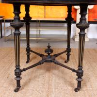 Ebonised Dining Table Gilt Tooled Console (10 of 11)