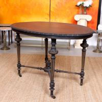 Ebonised Dining Table Gilt Tooled Console (11 of 11)