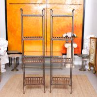 Pair of Tall French Wrought Iron Etagere Whatnot Shelving Stands (2 of 10)