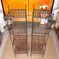 Pair of Tall French Wrought Iron Etagere Whatnot Shelving Stands (3 of 10)