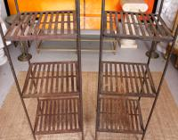 Pair of Tall French Wrought Iron Etagere Whatnot Shelving Stands (5 of 10)