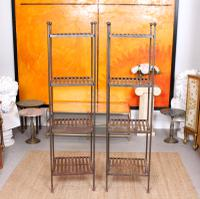 Pair of Tall French Wrought Iron Etagere Whatnot Shelving Stands (8 of 10)