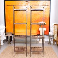 Pair of Tall French Wrought Iron Etagere Whatnot Shelving Stands (9 of 10)